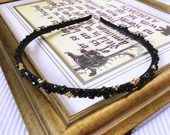 Jet black and Precious Gold beaded narrow Headband , Black Beaded Hair Band crystal tiara Black Gold bridesmaid headpiece