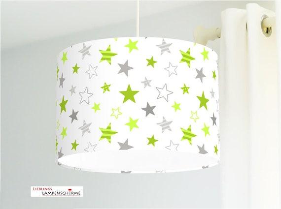 Lampe für Kinderzimmer mit Sternen in Grün Grau aus Baumwolle - alle Farben  möglich