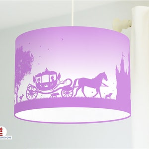 Lamp for the nursery and girls with horses in bright altrosa made of cotton fabric-other colors possible