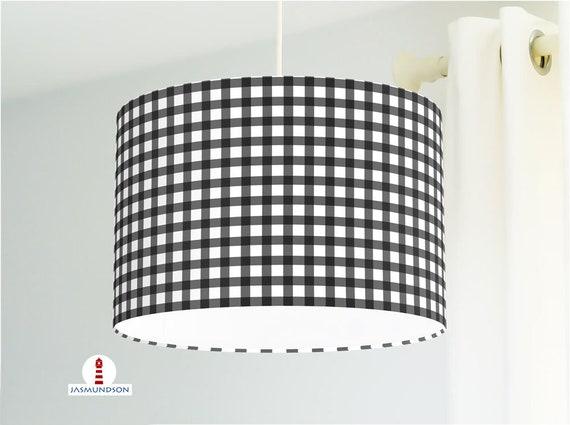 Lampe Küche Karo Muster in Schwarz Weiß aus Baumwolle - andere Farben  möglich