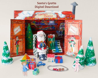 santas grotto model kit digital download printable christmas decoration instant download make it yourself santa claus paper house