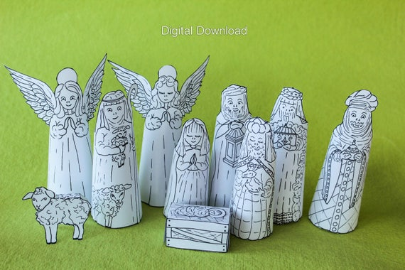 Instant Download Nativity Scene Colouring Pages Printable Nativity Coloring Set Diy Christmas Decoration Christmas Story Kit Mary Jesus