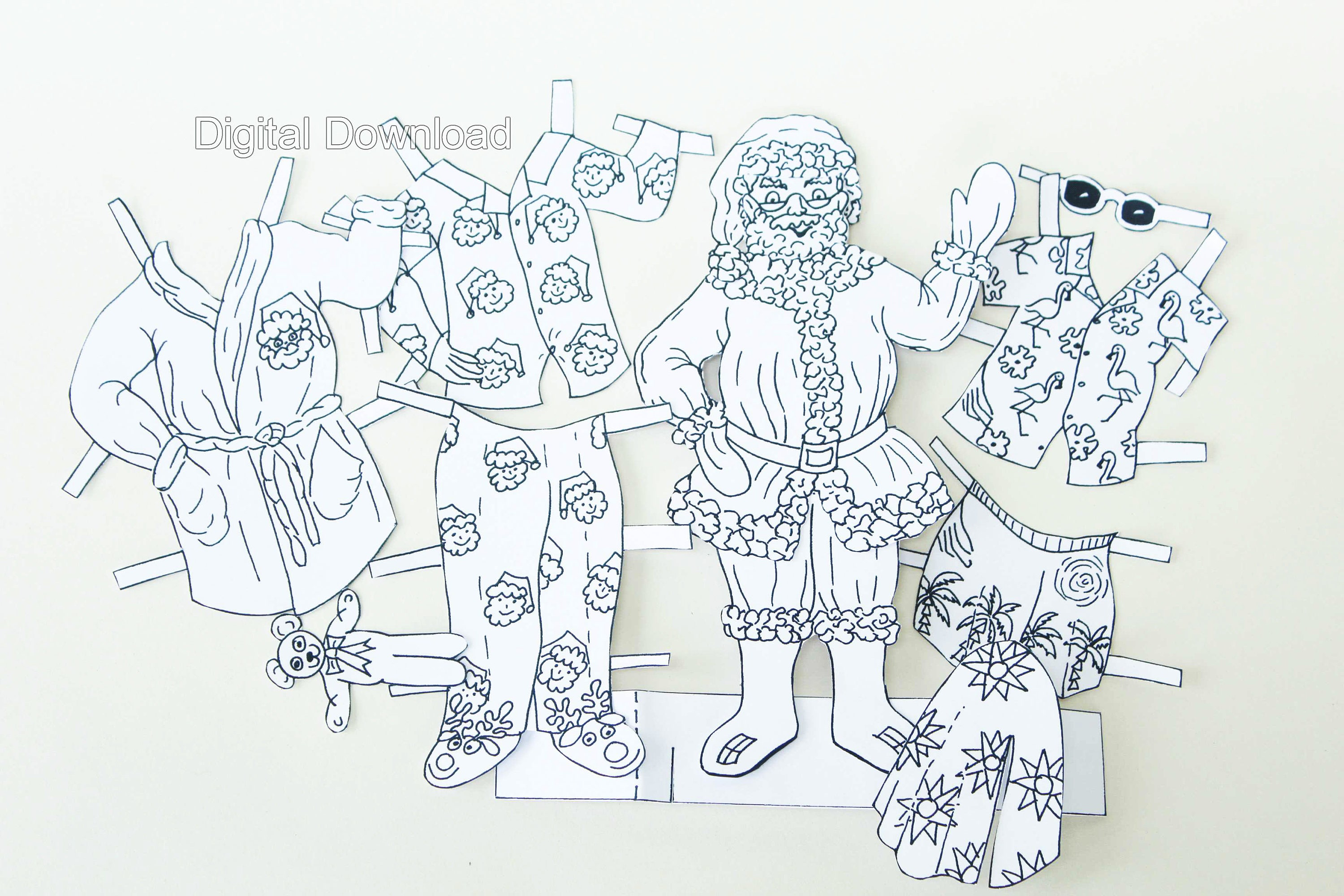 santa claus paper doll colouring pages print at home etsy