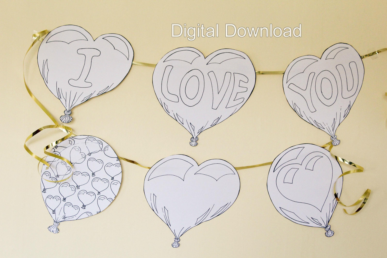 Valentinstag Herz Ballon Girlande digitale Download Liebe | Etsy