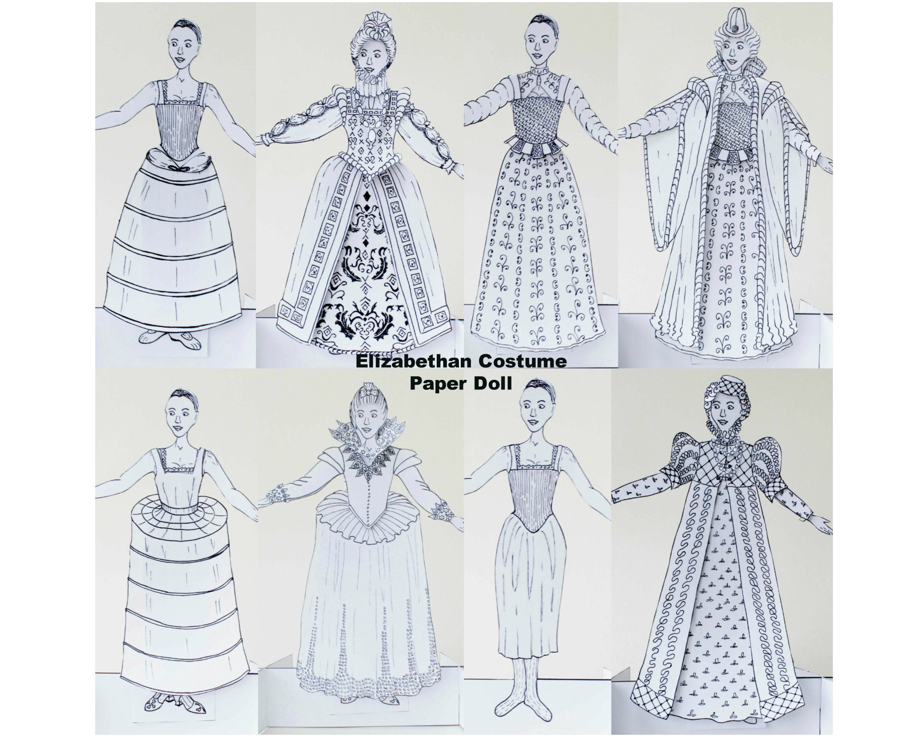 Elizabethan Costume Paper Doll Colouring Pages Kit Tudor Etsy Kostum Bee N Bug