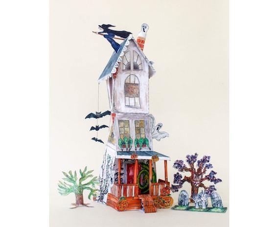 Modell Haunted House-Bausatz Papier-Halloween-Dekoration | Etsy