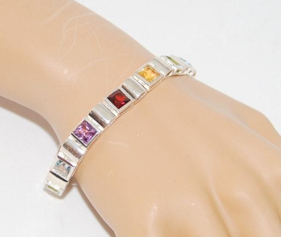 Vintage Sterling Silver Gemstone Bracelet / Genuin