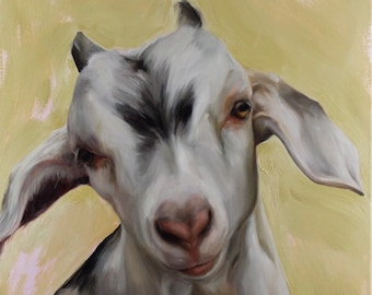 Lily goat oil painting