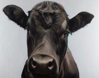 Ebony black cow painting