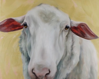 Rose sheep oil painting