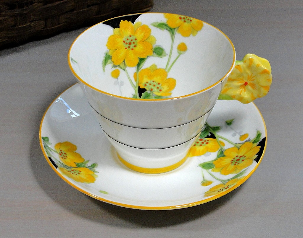 Rare Paragon Anemone Flower Handle Tea Cup And Saucer Set Etsy