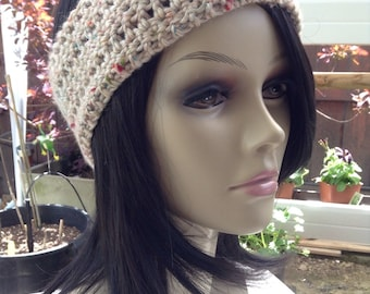 Tan w/ Color Splash Crochet Dreadband - Headband