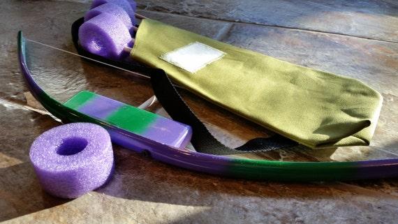 Mini Green/Purple Bow set w / carquois. Super héros, Kids arc et flèche, jouet arc et flèche, ARC et flèche, tir à l'arc, les enfants des carquois ensemble, Kids Bow