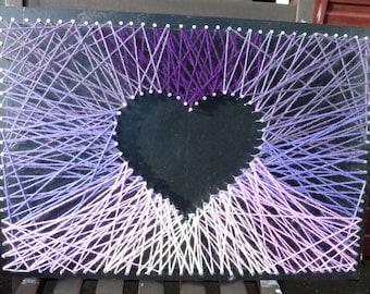 Heart Strings Purple Mini Wool Wall Art