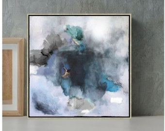 Gray Abstract Painting, Large Wall Art, Neutral Painting, Living Room Art, Bedroom Canvas Art, Framed Painting, Gray Artwork 30x30, 36x36
