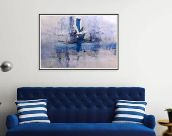 Painting Original Art On Paper/ Gray And Blue Art Large Wall Art Mixed Media Acrylic Painting/Drawing/ Abstract Art/ Modern Acrylic On Paper