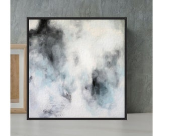 Gray Abstract Painting, Soft Neutral Wall Art, Black And White Artwork, Hand Painted Canvas Art, White Acrylic Painting, Large Wall Decor