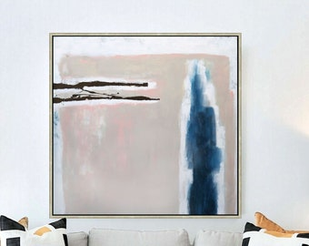 Beige Pink Wall Art, Large Abstract Painting, Original Minimalist Modern Entryway Or Living Room Art, Light Salmon Colored Accents 36x36