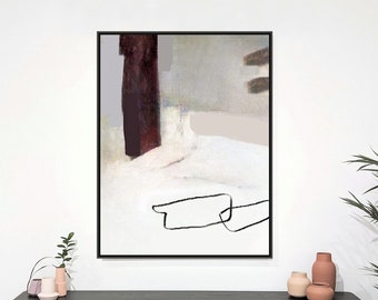 Large Modern Painting, Neutral Wall Art, White And Gray Canvas Art Framed Abstract Artwork, Calming Simple Modern Art