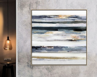 Large Abstract Painting, Ocean Wall Art, Bedroom Painting, Dark Blue Art, Contemporary Art, Modern Seascape, Sunset Painting, 36x36