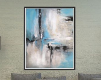 Painting Large Abstract Art Blue Wall Art Acrylic Painting Large Canvas Art Original Painting Living Room Art Wall Decor 36x48/ Christovart