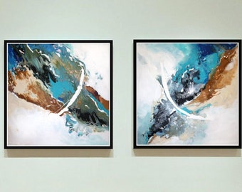 Large Abstract Acrylic Painting/ Original Teal Abstract Art/ Large Painting Contemporary Art/ Original Abstract Painting Home/ Office Wall