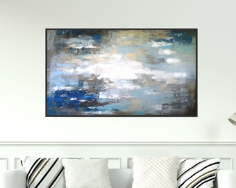 Contemporary Wall Art, Large Modern Art, Blue Abstract Painting, Blue Acrylic Painting On Canvas, Abstract Rain Painting, Christovart