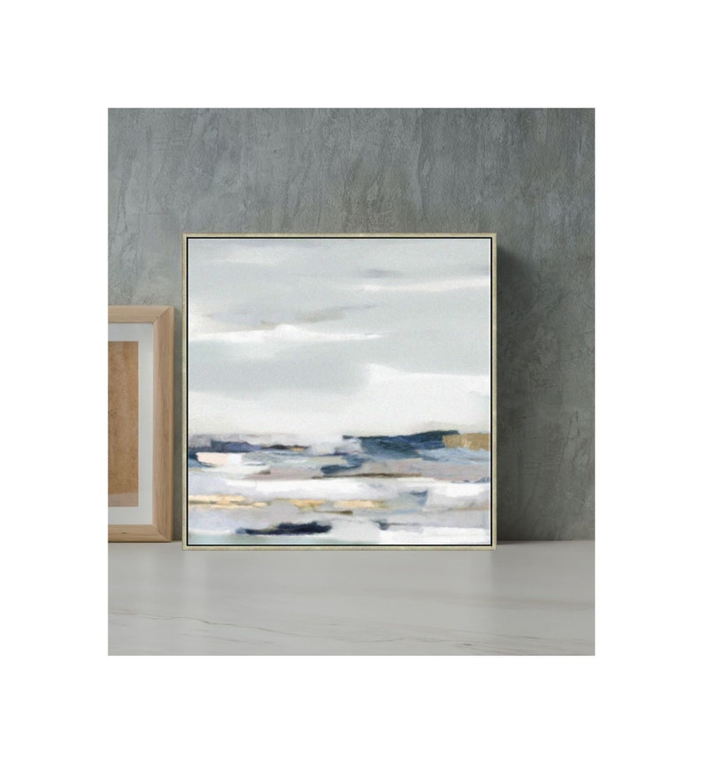 Seascape Abstract Painting  Blue And Gray Wall Art With Gold image 0