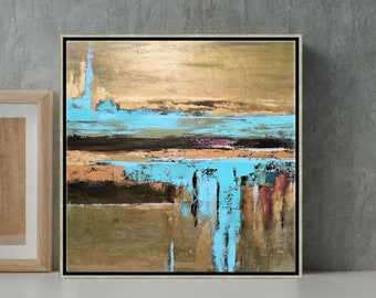 """Metallic Art Abstract Painting Aqua Blue And Bronze Wall Art Gold Leaf Painting Large Artwork, """"Contrast"""", 24x24, 30x30"""