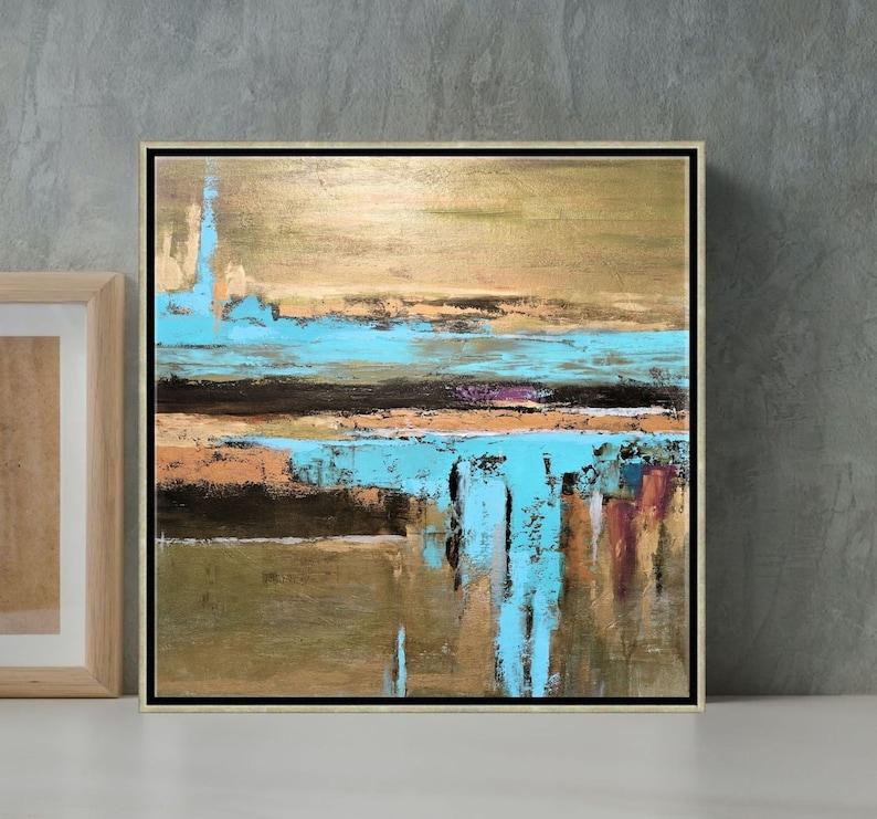 Metallic Art Abstract Painting Aqua Blue And Bronze Wall Art image 1