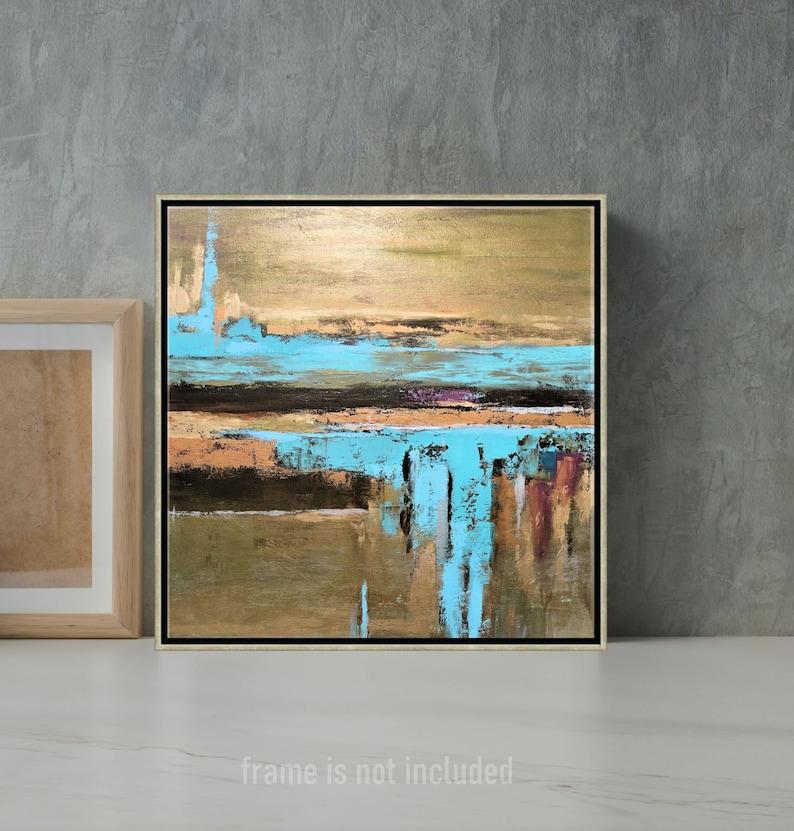 Metallic Painting Aqua Blue And Bronze Wall Art Gold Leaf image 0