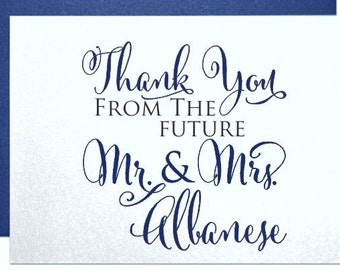 thank you cards personalized bridal shower thank you card set thank you gifts from bride and groom custom cards from the future mr and mrs