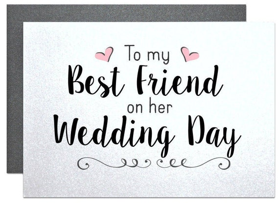 Cards For Best Friend On Her Wedding Day Card Best Friend Etsy