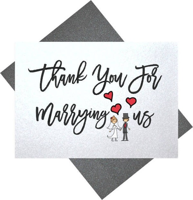 Thank You For Marrying Us Wedding Thank You Card For Priest Rabbi