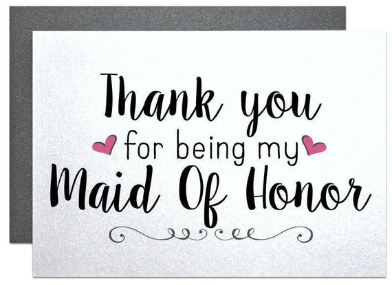 Items Similar To Thank You For Being My Maid Of Honor Thank You Card
