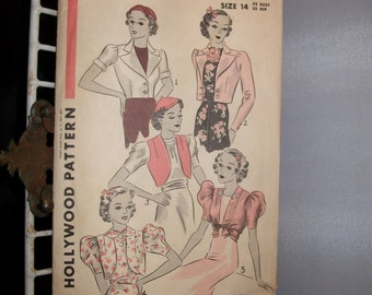 1930s Hollywood Uncut Pattern 2 Boleros in 5 versions