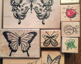 Lot of 10  Butterflies and lady bugs Rubber Stamps