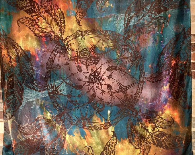 Sacred Geometry Dream Catcher Tapestry Titled Space Catcher By Artist Melanie Bodnar