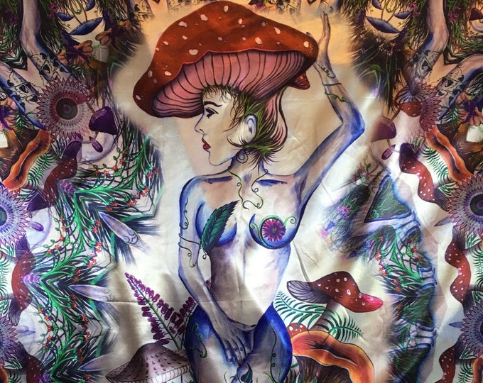 Amanita Trippy Pschedelic Mushroom Tapestry By Enlighten Clothing Co.