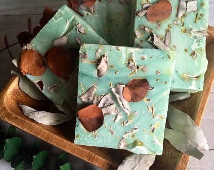 Essential Oil Soap With Eucalyptus And White Sage Handmade By Enlighten Clothing Co