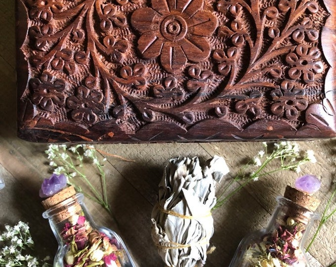 Charcoal And Rose Bath Soak With Epson Salts, Sage Smudge, Hand Carved Floral Box And Amethyst Crystal Bottle By Enlighten Clothing Co