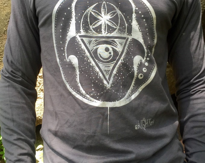 Hamsa Longsleeve, Hand Drawn By Francis Doody. Sacred Geometry Clothing By Enlighten Clothing Co.