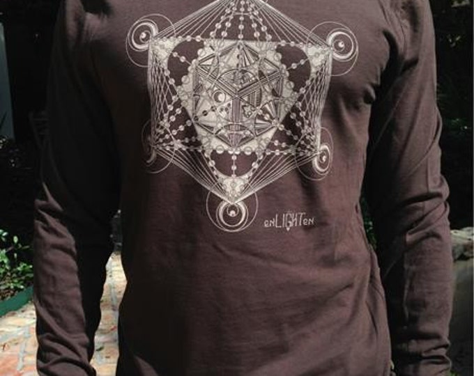 Metatrons cube longsleeve shirt. Sacred geometry clothing by Enlighten clothing company