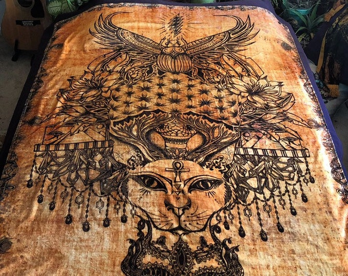 Cats Under The Stars Fleece Art Blanket. Hand Drawn Design By Melanie Bodnar With Enlighten Clothing Co. Scarab, Crystals, Flower Of Life
