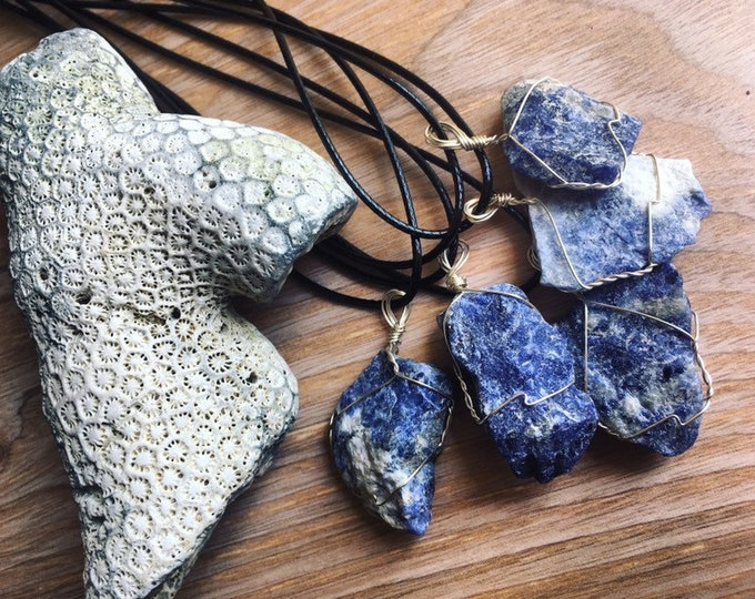 Sodalite Stone Wire Wrapped Pendant By Enlighten Clothing Co Healing Crystal Wraps