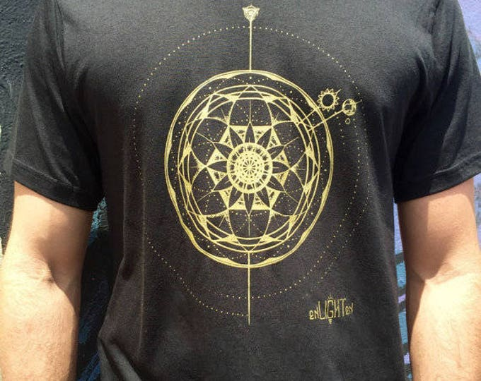 Sacred Geometry Tee Gods Clock, Bamboo And Organic Mens Tee Eco Tee