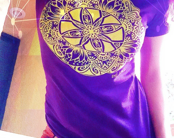 Lotus mandala shirt Designn Hand Drawn By Melanie Bodnar. Original Sacred Geometry Clothing by Enlighten