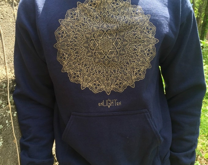 Elevation Hoodie. Hand Drawn By Travis Garner. Sacred Geometry Clothing By Enlighten Clothing Co.