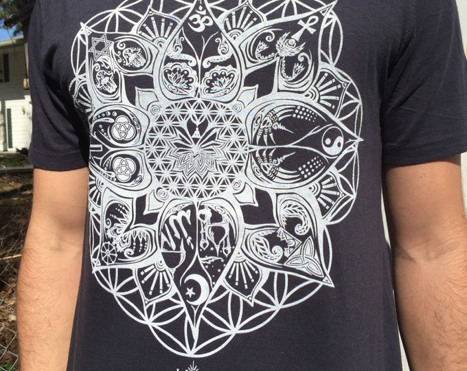 "Organic Bamboo Cotton T-Shirt ""L.O.T.U.S."" Original Sacred Geometry Clothing By Enlighten Clothing Company"
