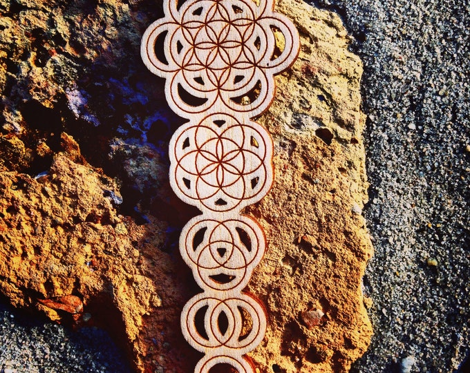 Ascension Wood Sacred Geometry Engraved Pendant